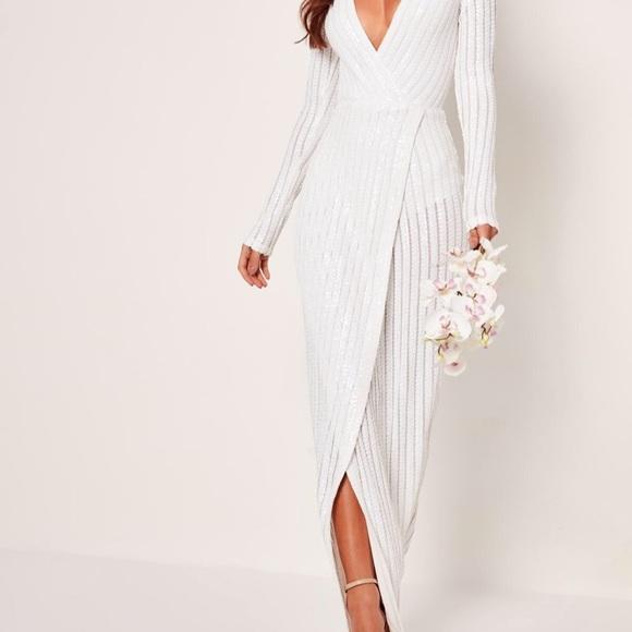 cc7d63d9 Missguided Dresses | Bridal Sequins Wrap Dress | Poshmark